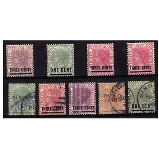 Straits Settlements 1891 overprinted 4 mint 5 used BL660