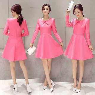 Pink Long Sleeves Dress