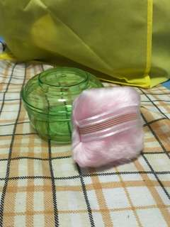 Powder container and puff