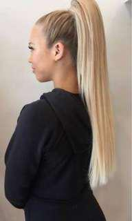Zala white blonde ponytail clip in