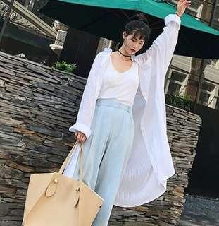 80382 #新款寬鬆棉麻條纹襯衫衣  颜色: 白色   尺码: 2XL XL L M
