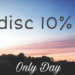 Disc 10% hanya hari ini