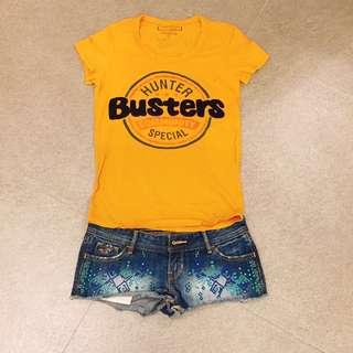 (SET) T-Shirt and Hollister Denim shorts set