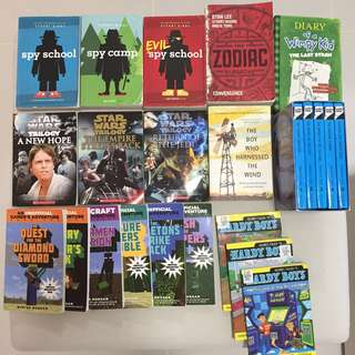 23 children's books, Star Wars, Hardy Boys, Minecraft, Diary of A Wimpy Kid, Spy School