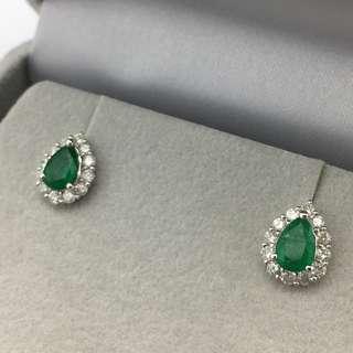 18K白金耳環 1卡6份綠寶 66份鑽石  18K Withe gold Earrings 1.06ct Emerald 0.66ct Diamond 可議價