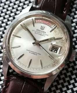 70年代Ricoh Dynamic Wide古董錶,原裝錶面無番寫,星期日曆,膠面,拉跳日曆,前後跳星期,原裝錶売,原裝21石自動機芯,已抹油,行走精神,錶頭36mm,淨錶$950,有意請pm