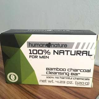 human❤️nature 100% Natural Bamboo Charcoal Cleansing Bar for Men