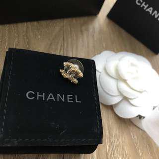 Chanel 金色樹枝logo耳環