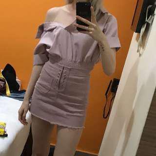 Plum shirt & skirt