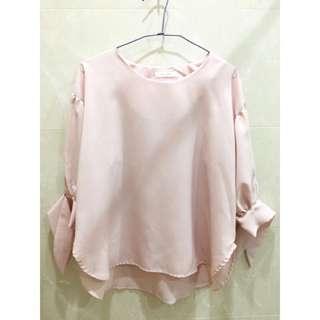 韓國連線 粉嫩 泡泡袖綁綁蝴蝶結上衣