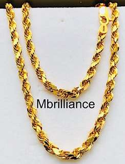 🚚 Size 6 diamond cut thick rope chain 916 gold