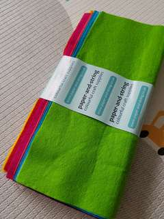 Paper and String UK brand Brights wool blend felt 10 sheet pack rainbow colours 12x12inch