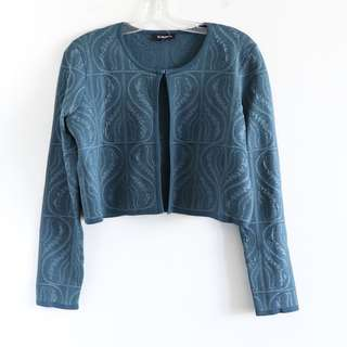 Bebe teal blue knit dress jacket cropped cardigan XL classy NWT