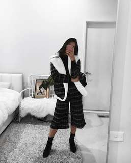 Tweed checkered houndstooth faux fur coat and culotte pants (additional cost) black and white