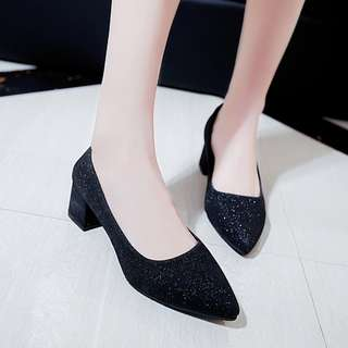 Women Metallic Sexy Pointed High Heels Casual Business Plus Size Ladies Shoes [Black/Silver/Gold]