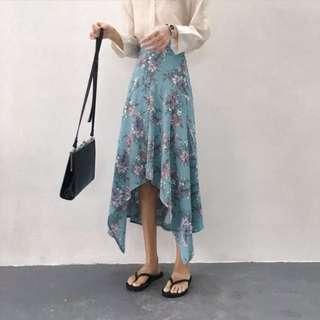 Brand New Floral Midi Skirt Blue