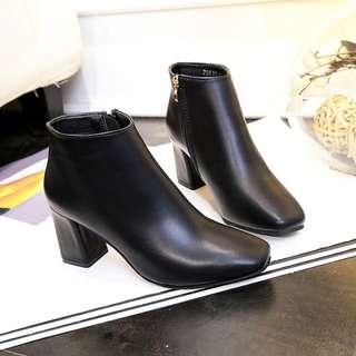 Women Solid Color Classy Ankle High Boots Elegant Fashion Side Zipper High Heels [Black/Beige/Brown]