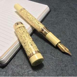 富利文象牙白18k鍍金雕花鋼筆