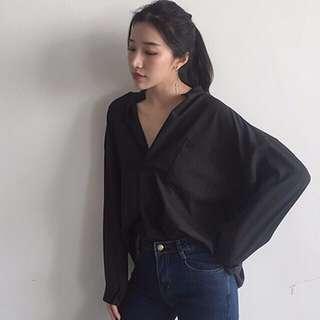 Women long sleeve blouse office chiffon