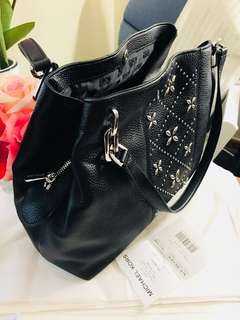 Michael Kors Leighton Large Stud Shoulder Tote Bag Leather Black Silver