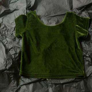 Dark Green Velvet Crop Top