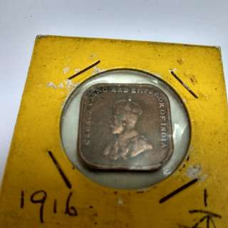George V King And Emperor of India Quarter Cent