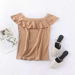 🚚 【現貨】 夏季百搭純色氣質小清新一字領短袖上衣女