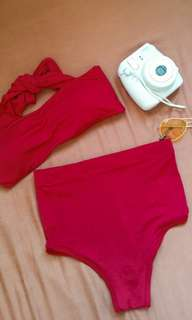 Red High waisted swimsuit