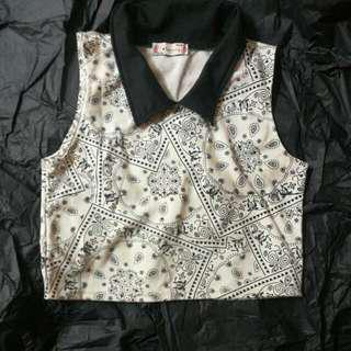 Black And White Collared Crop Top