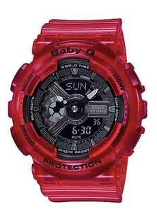 Casio Baby-G BA110CR-4A Aqua Planet Translucent Coral Red Watch