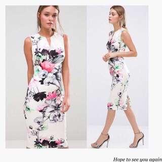 Floral Bodycon White Casual Dress