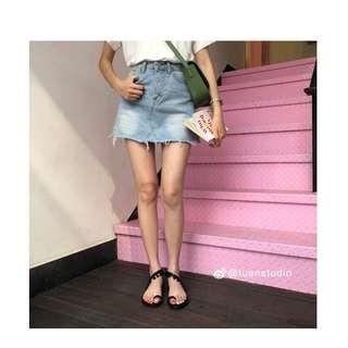 🚚 淺藍 韓版 牛仔短裙 裙子 半身裙