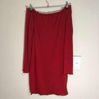 Red Longsleeve Off Shoulder Dress