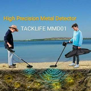 TACKLIFE Metal Detector - High Precision & Target Screenable pinpoint Metal Detector for Adults & Kids with Waterproof Coil , Adjustable Stem & Audio Jack (9V Battery Included)