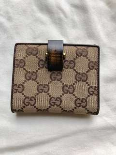 Gucci Wallet with wood clasp, 100% Authentic