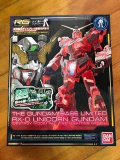 The Gundam Base Limited RX-0 Unicorn Gundam Lighting model