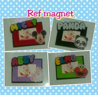Frame magnet with theme design and name