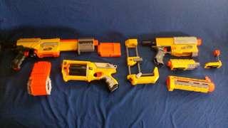 Set of three Nerf guns