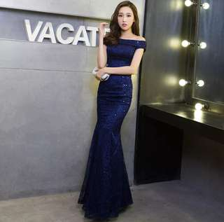 Korean style of the new summer dress evening gown (Blue)