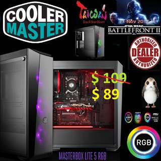 CoolerMaster MASTERBOX LITE 5 RGB CASE W/ T.GLASS.