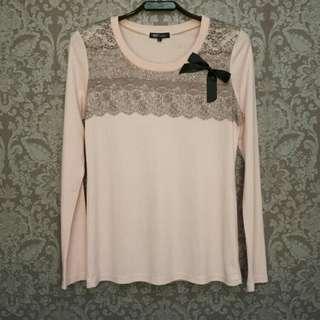 NET粉紅甜美蝴蝶結蕾絲水鑽棉質長袖T恤/薄長T~L號