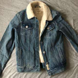 GHANDA Faux Fur Lined Denim Jacket