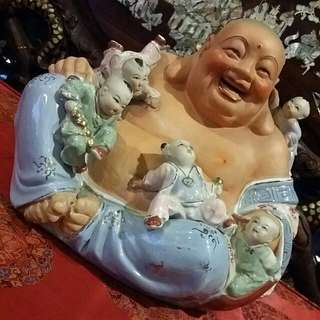 Big Heavy Porcelain  5 Kids Laughing  Buddha Feng Shui Chinese Antique  Vintage