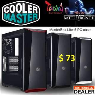 CoolerMaster MASTERBOX LITE 5 ATX CASE FULL WINDOW.