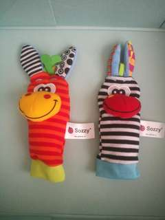 Sozzy baby animal socks and hand rattle toys