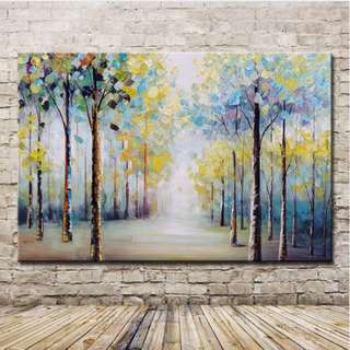 🚚 Forest Trees Oil Painting 60cm x 90cm