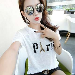 🚚 韓版冰絲水鑽短袖薄款亮絲T恤上衣