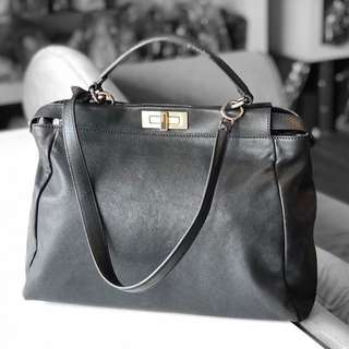 Authentic Fendi Peekaboo Black Leather Bag