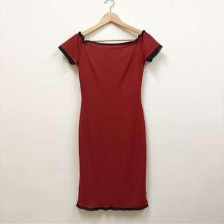 🚚 雪紡 浪漫 腰身 緊身 性感 古典 改良式 旗袍 洋裝 裙 紅色 古著 二手