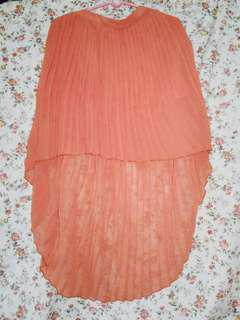 Orange Long Back Pleated Skirt